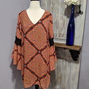 Paper Crane boho bell-sleeved dress